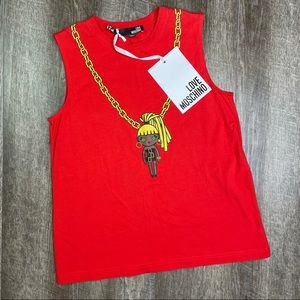 Love Moschino Red Doll On Chain Tank Top Size 4
